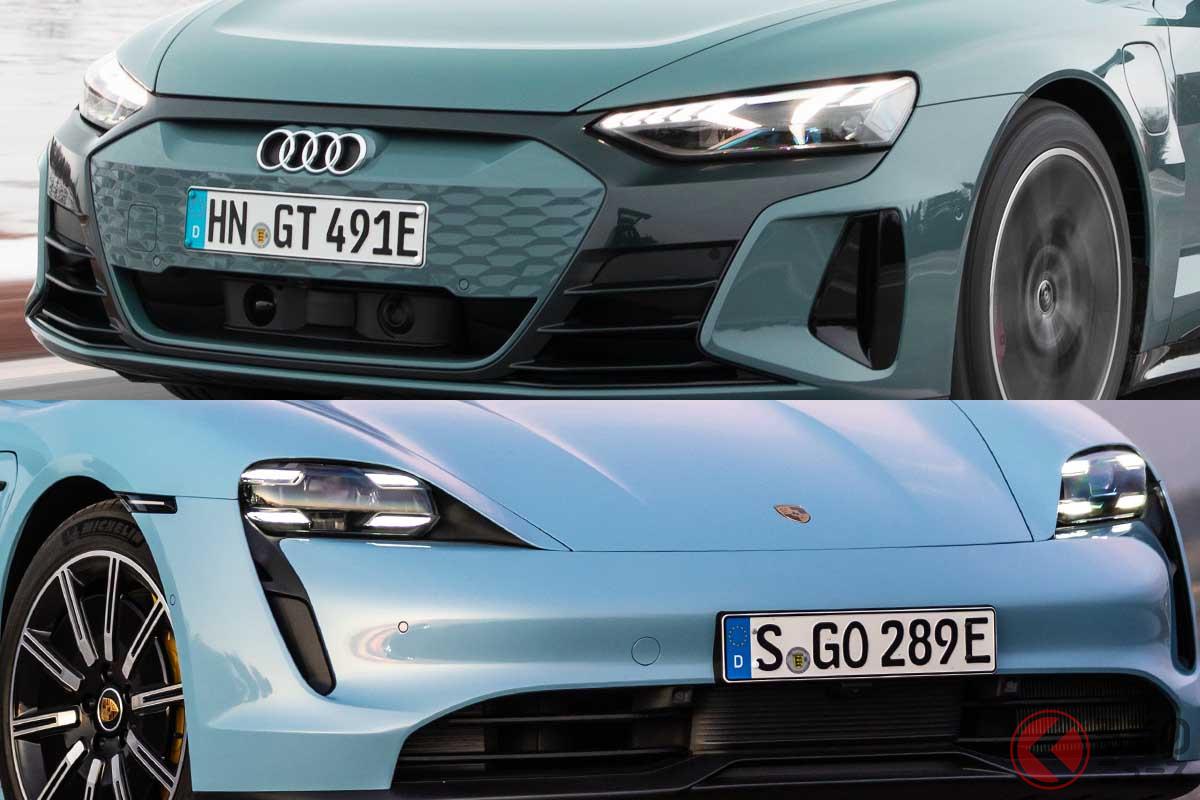 アウディ「e-tron GT」(上)とポルシェ「タイカン」(下)。両車ともにハイパー電動グランツーリスモだ