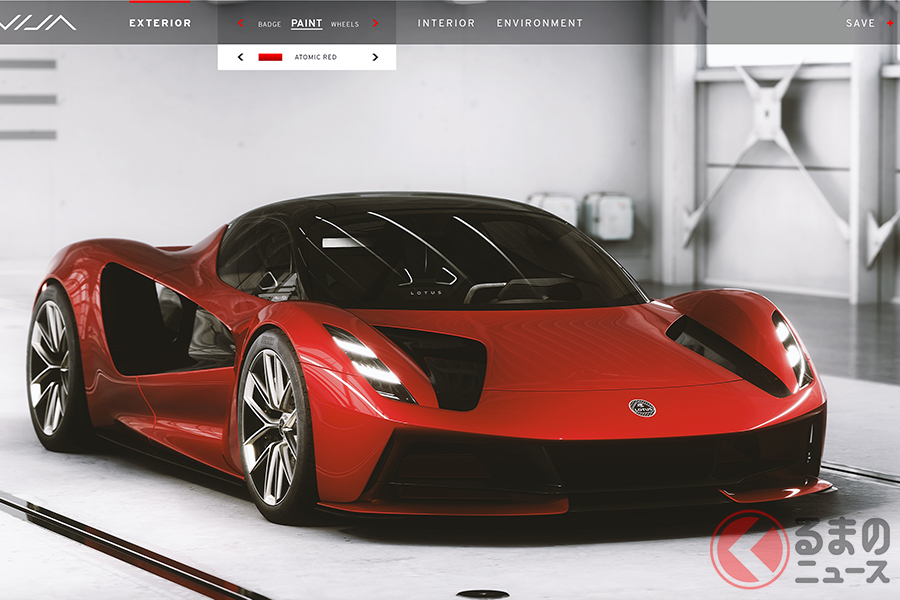 ロータス「エヴァイヤ」コンフィギュレーター。ここでボディカラーや内装、ホイールデザインなどをカスタマイズできる