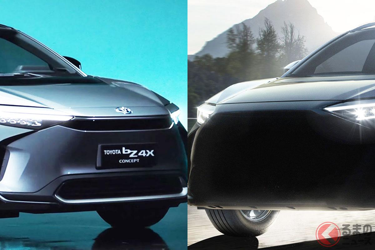 トヨタ新型「bZ4Xコンセプト」(写真左)とスバル新型「ソルテラ」(写真右)