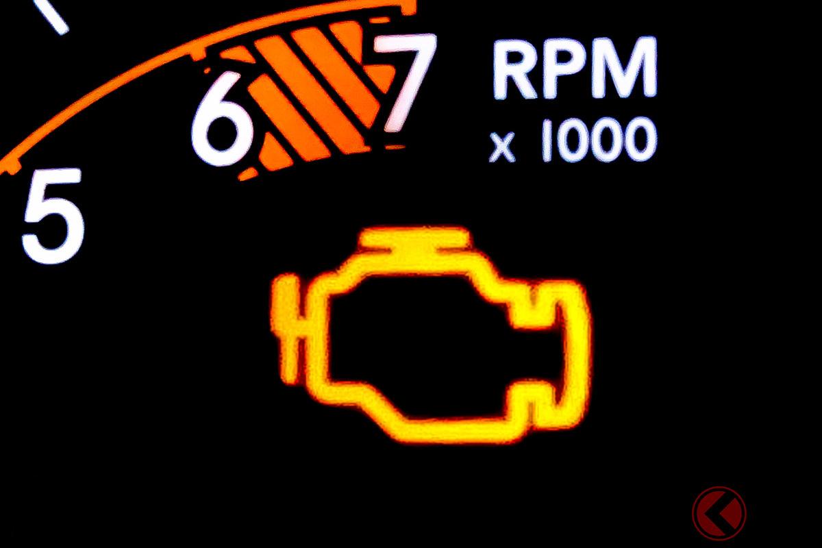 O2センサーが不具合の場合、エンジンチェックランプが点灯する