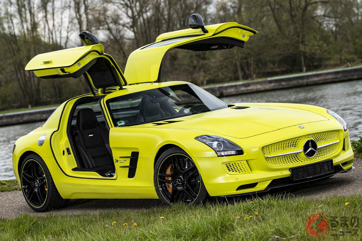 蛍光イエローのボディカラーは、メルセデス・ベンツ「SLS AMG E-CELL」のイメージカラーだ(C)2021 Courtesy of RM Sotheby's