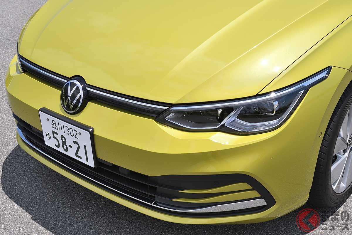 VW新型「ゴルフ」。このボディカラーは有償カラーのライムイエローメタリック