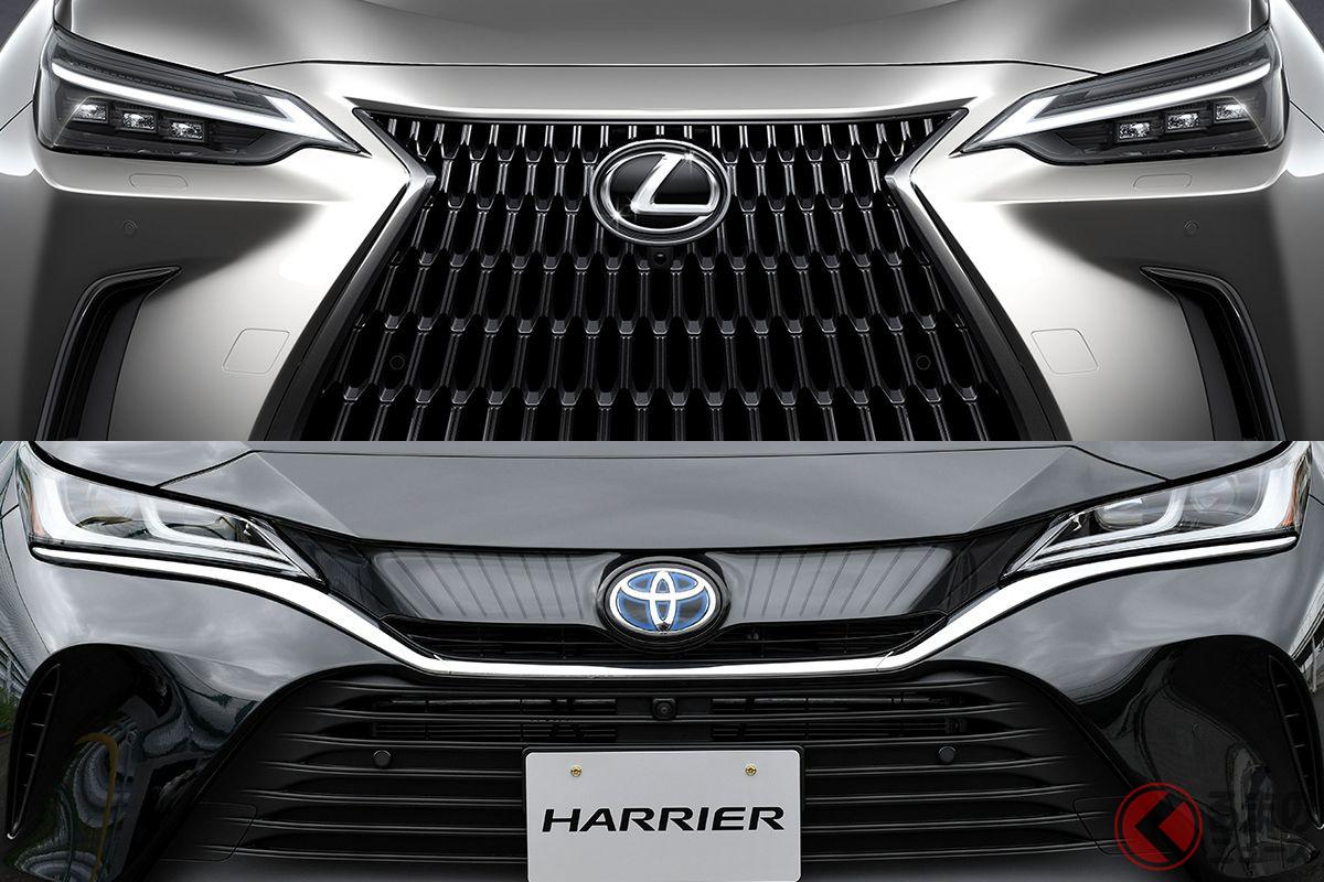 レクサス新型「NX」(上)とトヨタ新型「ハリアー」(下)