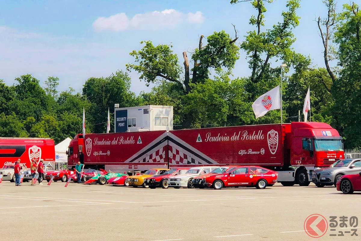 サーキットイヴェントにはいつもスクデリア デル ポルテッロのトランスポーターと参加車両が展示される