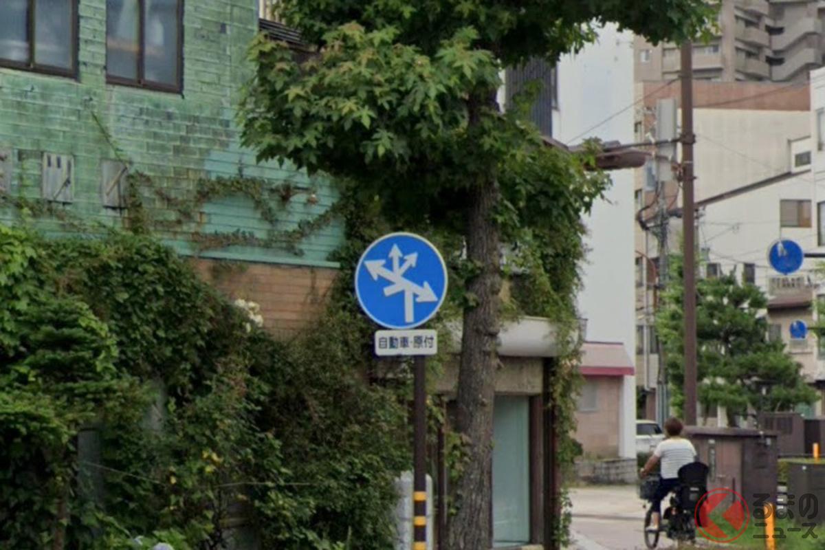6つの道路に4つの矢印…初見では理解不可能? (photo:Googleストリートビュー(C)Google)