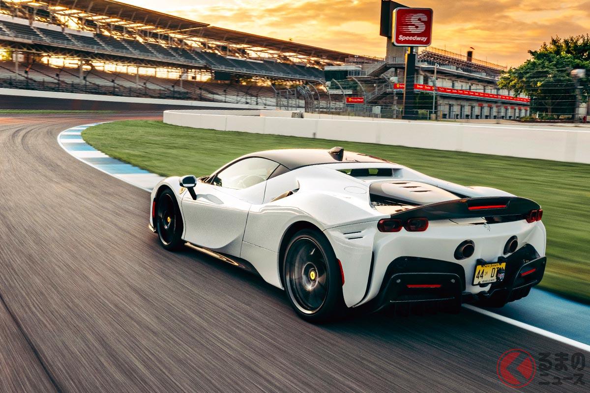 インディアナポリス・モータースピードウェイにおいて、1分29秒625という量産車におけるラップタイム・レコードを樹立したフェラーリ「SF90ストラダーレ アセット・フィオラノ」