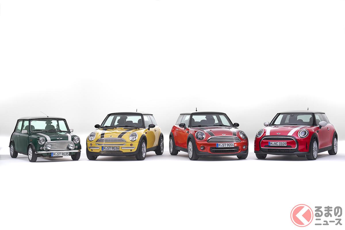 左から第1世代、第2世代、第3世代、第4世代のミニ。BMW時代になってからは、第4世代だけマイナーチェンジを2度受けている