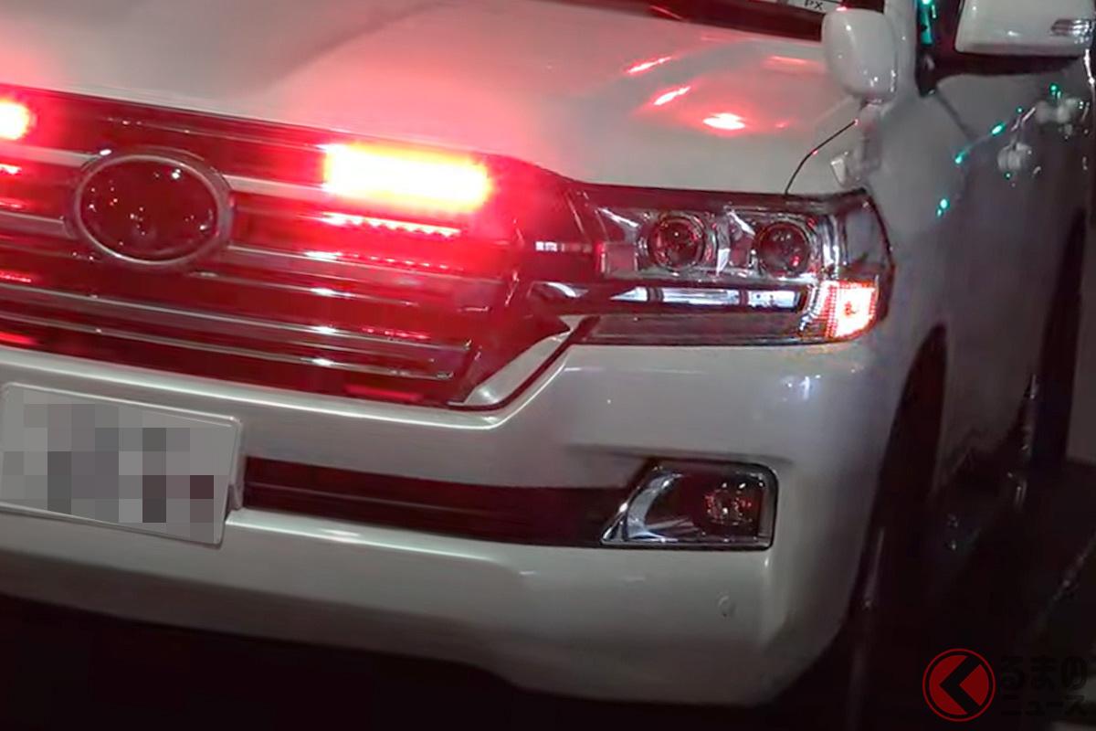 究極の覆面パトカー? 東京オリンピックのために宮崎県から派遣されたトヨタ「ランドクルーザー(200系)」の覆面仕様(画像提供:trh200v1tr JAPAN Motorcade Police Car Fire engine)