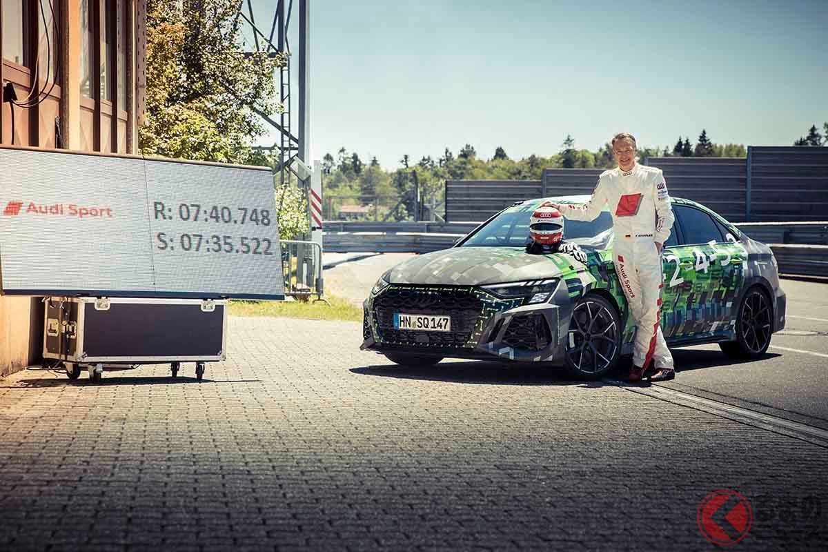 独ニュルブルクリンク・ノルドシュライフェの記録を出したアウディ新型「RS3」とドライバーのフランク・ステープラー氏