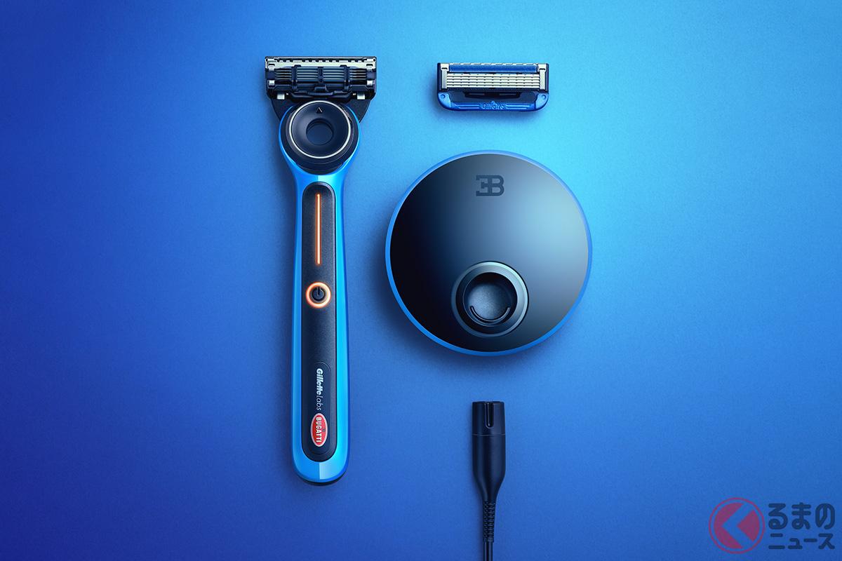 ジレットラボ/ブガッティ・スペシャルエディション・ヒーテッド・レイザーには、本体のほかマグネット式ワイヤレス充電ドックとリフィル、カスタムクリーニングクロス、スマートプラグが付属される