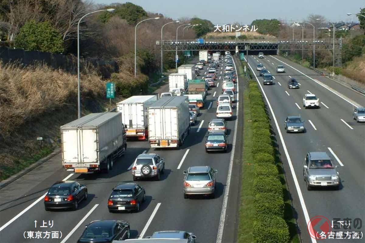 東名高速道路の横浜町田ICと厚木ICの間にある大和トンネル。付加車線の運用前は渋滞の名所と呼ばれていたが…