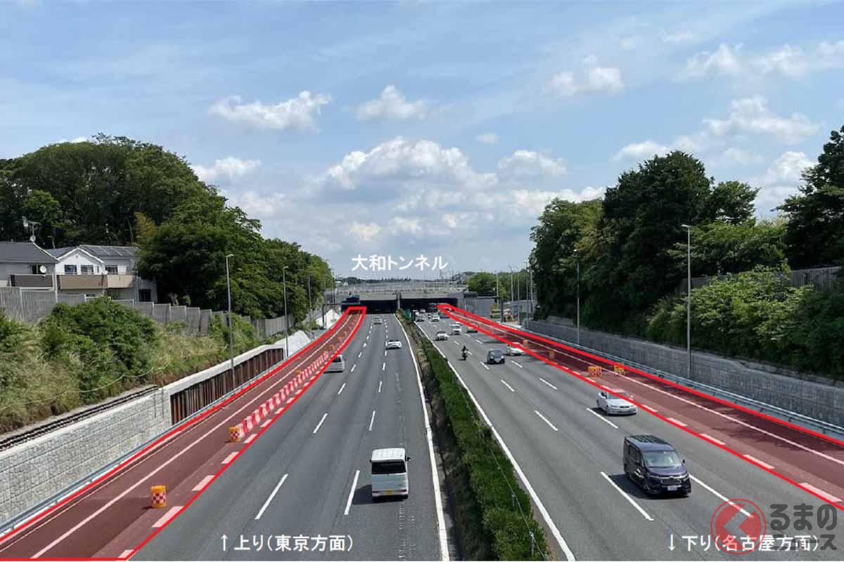 東名高速道路の横浜町田ICと厚木ICの間にある大和トンネル。上り線約3km、下り線約2kmの付加車線の運用を開始し、この区間では上下線とも4車線で通行できるようにしたところ、劇的に渋滞の回数が減った