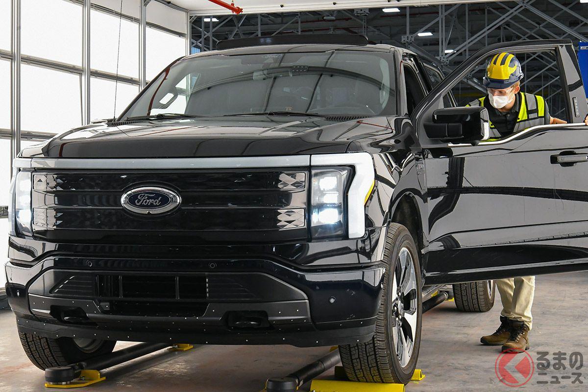 ルージュEVセンターでのフォード「F−150ライトニングEV」生産風景