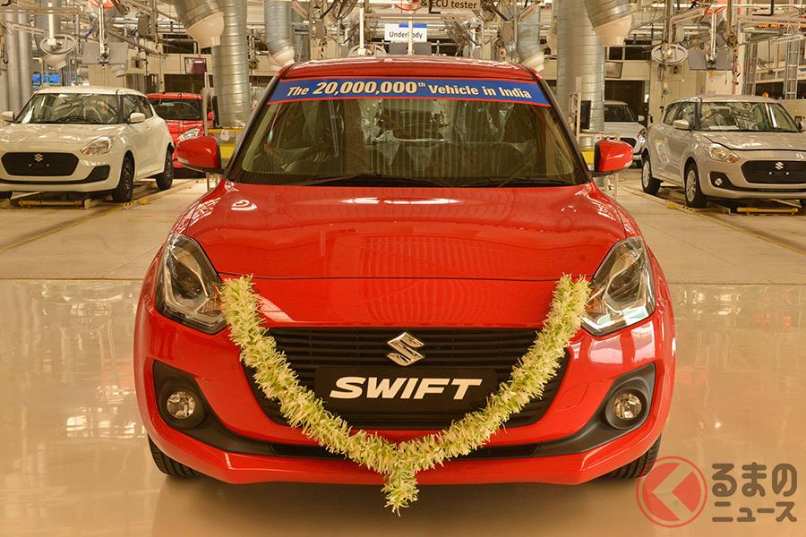 インドのマルチ・スズキが2000万台目に生産した「スイフト」