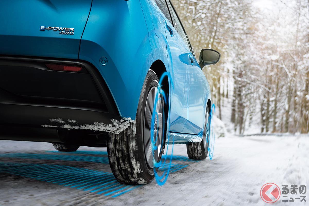 2020年度中に発売されるというノートの4WD仕様。ヤリスやフィットとは異なるパワフルなモデルになるという
