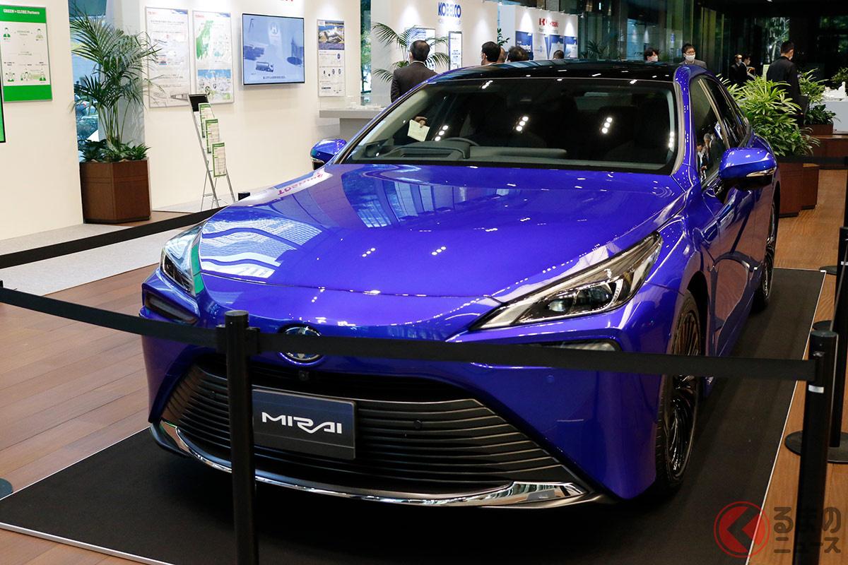 水素バリューチェーン推進協議会の設立イベントに展示された燃料電池車トヨタ「MIRAI」
