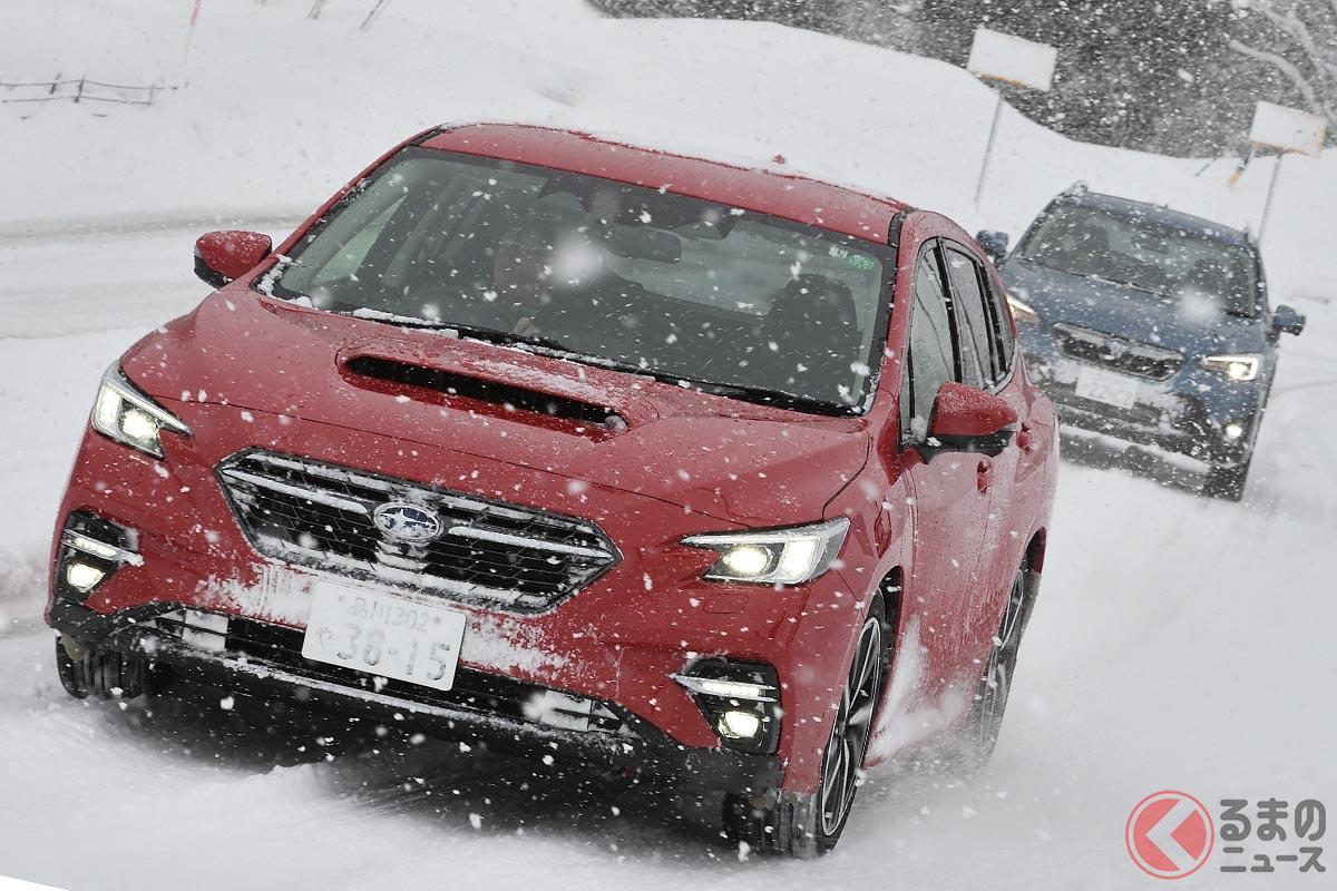 雪道で頼もしい四駆性能を発揮するスバル車