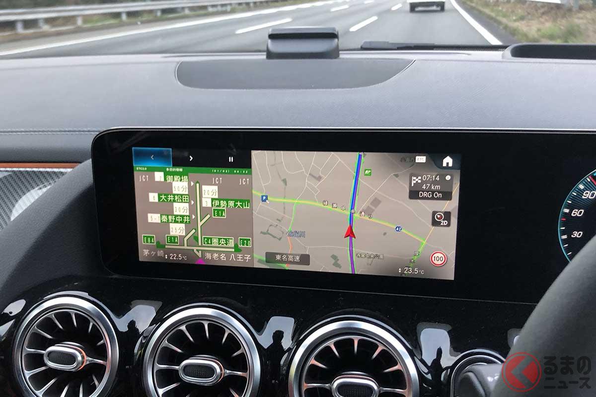 自動車メーカーの広報車には最近、ETC2.0車載器が搭載されていることが多くなった。写真はメルセデス・ベンツ「GLA」のインテリア