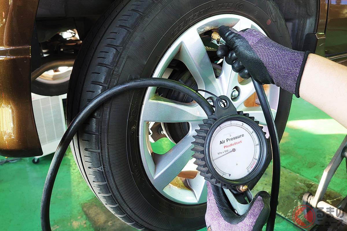 月に1度はタイヤの空気圧をチェックするのが望ましい