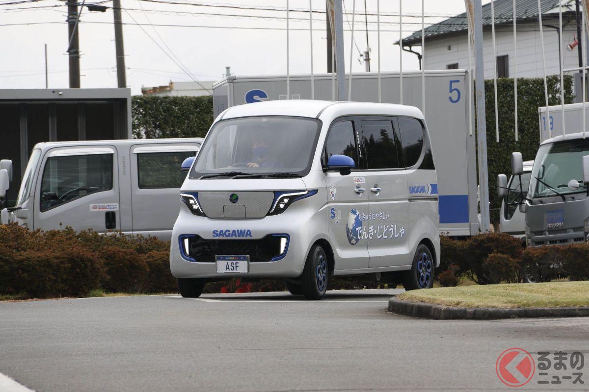 報道陣に公開された軽EV(プロトタイプ)の走行模様(提供:佐川急便)