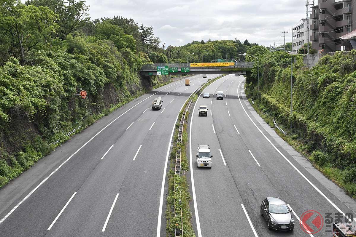 東名高速道路の6車線(片側3車線)区間
