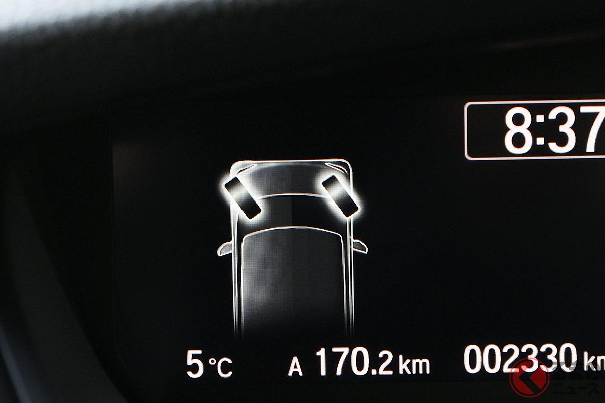軽自動車に採用されることが多い「タイヤ切れ角モニター」(画像:ホンダ「N-BOX」)