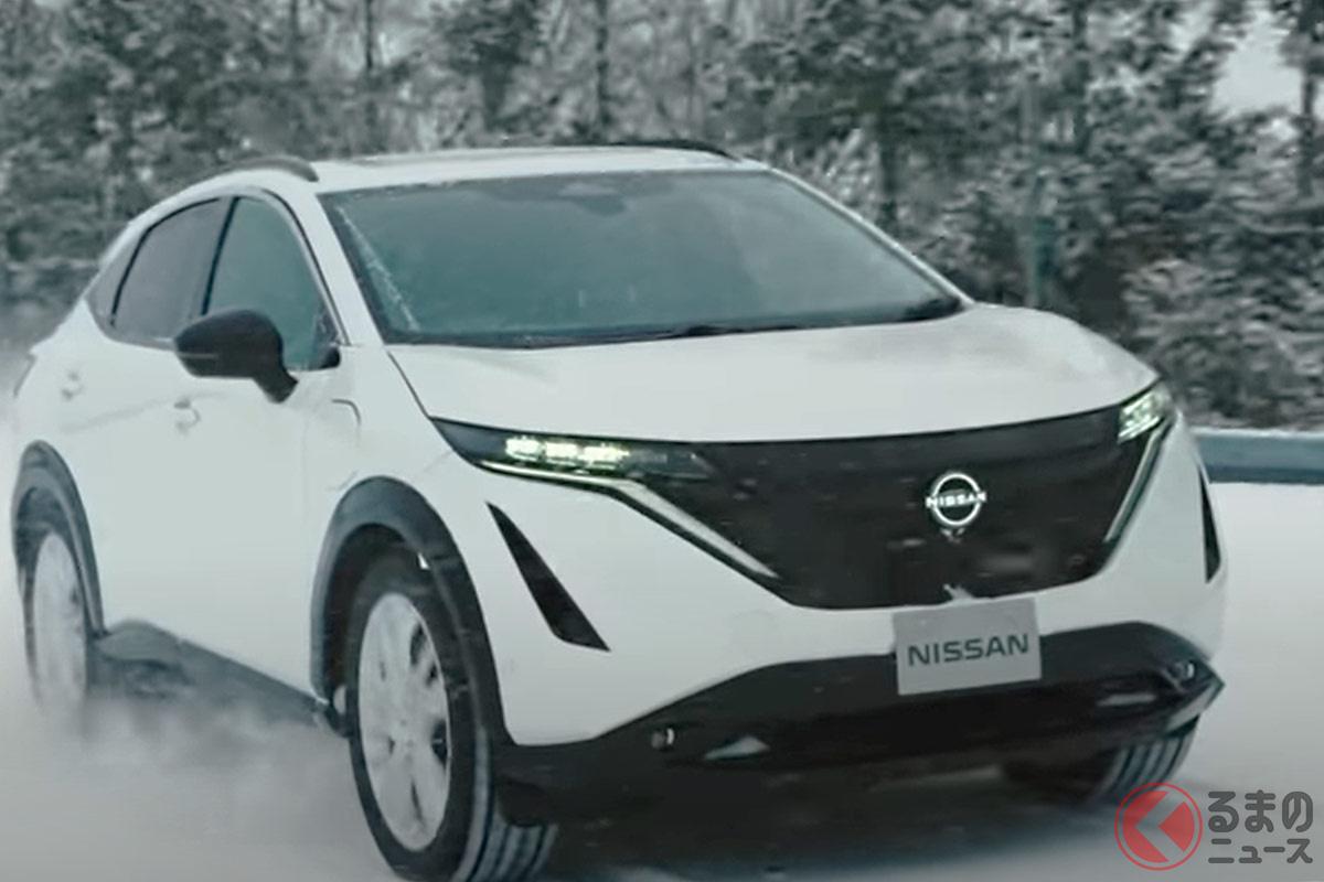 新型「アリア」を雪上で走行評価している様子(日産公式YouTubeより)