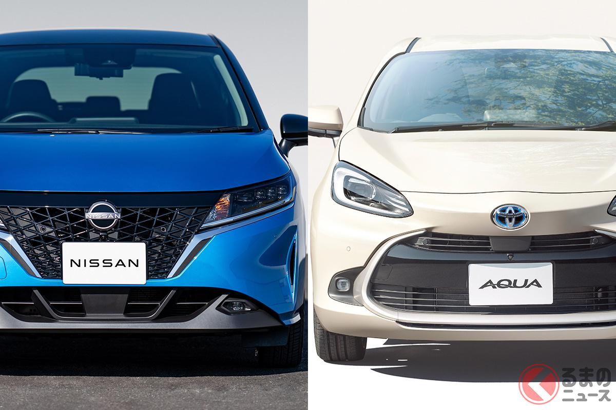 コンパクトかつハイブリッド専用車となる新型ノート(左)と新型アクア(右)