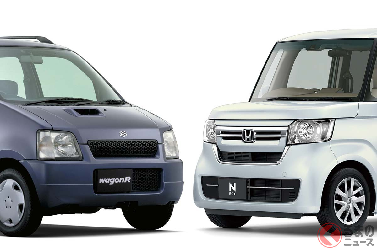 左:2001年にナンバー1だったスズキ「ワゴンR」/右:2021年上期にナンバー1のホンダ「N-BOX」