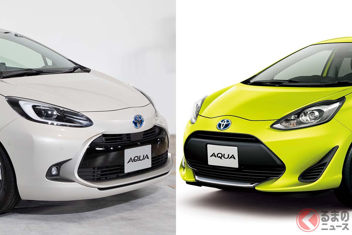 新型でもひと目でアクアとわかるデザインを採用(左:新型アクア/右:初代アクア)