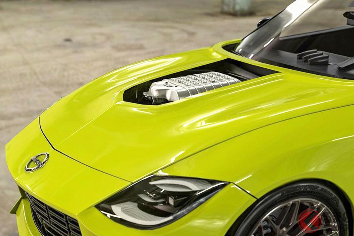 新型フェアレディZにダッジ「チャレンジャー SRTヘルキャット」のV8エンジンを搭載したレンダリングイメージ(photo:Abimelec Design)