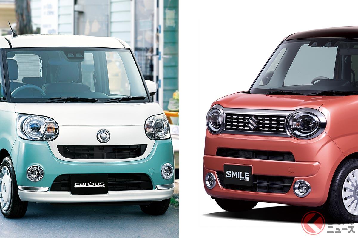 左:ダイハツ「ムーヴキャンバス」/右:スズキ新型「ワゴンRスマイル」