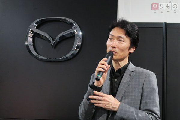 マツダの松本浩幸 執行役員 車両開発本部長(2017年4月9日、乗りものニュース編集部撮影)。