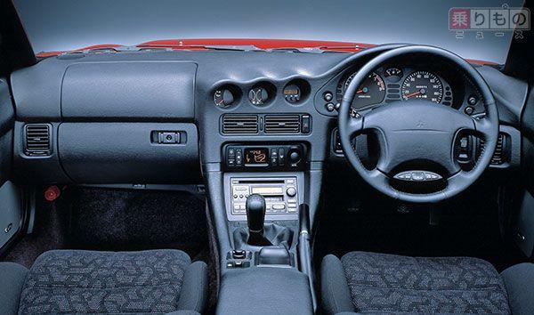 三菱「GTO」後期型のインパネまわり(画像:三菱自動車)。